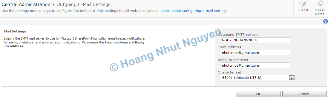hMailServer SharePoint Outgoing mail | Hoang Nhut Nguyen