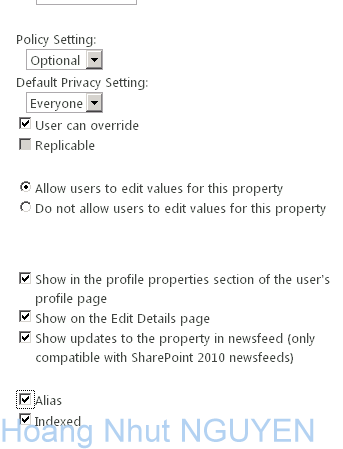 Create Customize User Property with Options